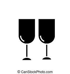 wine glasses icon, vector illustration, black sign on isolated background