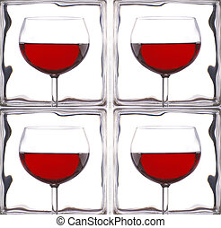 Wine Glasses in Front of Glass Bricks