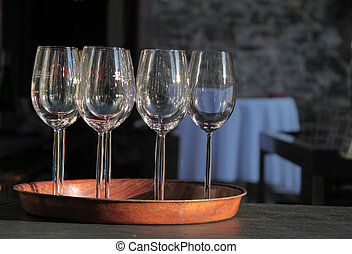 Wine glasses on tray