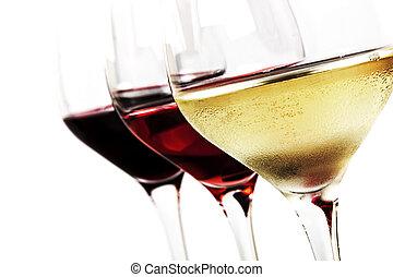 Wine Glasses over White