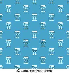 Wine glasses pattern seamless blue