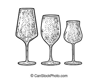 wine glasses set sketch engraving vector illustration. T-shirt apparel print design. Scratch board imitation. Black and white hand drawn image.