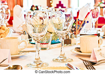 Wine glasses - Close up of two sparkling wine glasses on a...