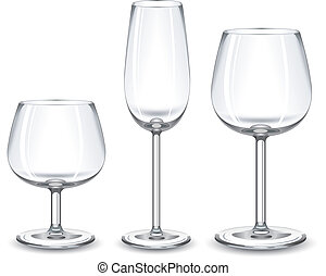 Wine glasses - Three glasses fo alcohol drink on white...
