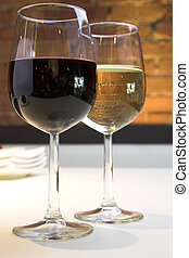 Wine Glasses - Wine glasses with red and white wine
