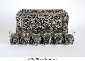 Wine-glasses with a tray