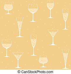 Wine glasses with champagne on yellow background
