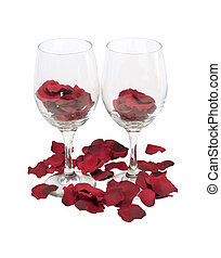 Wine Glasses with Rose Pedals