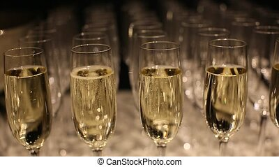 wine glasses with sparkling wine - Glasses with sparkling...