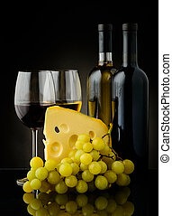 wine, grapes and cheese