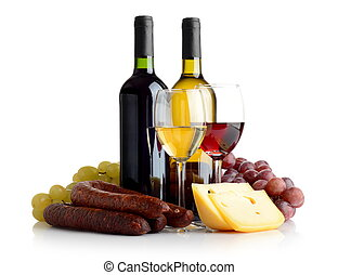 Wine, grapes, cheese an sausage isolated on white - Wine in ...
