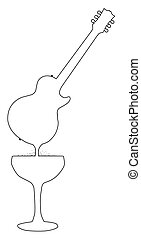 Wine Guitar - A rock guitar outline melting down into a...