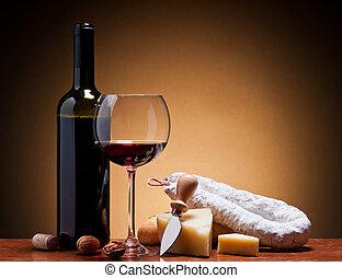 wine, hard cheese and salami