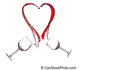 Wine heart splash