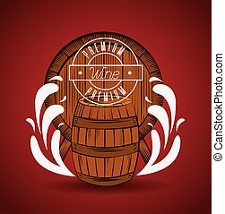 wine house poster with barrel