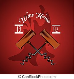 wine house poster with corkscrews