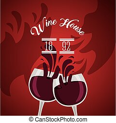 wine house poster with cups