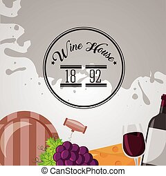 wine house poster with set icons