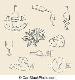 Wine icon label vector illustration