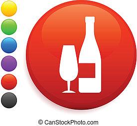 wine icon on round internet button