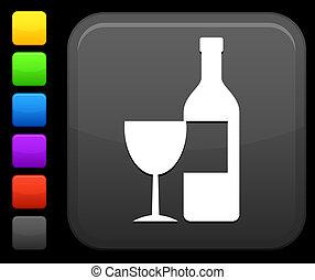 wine icon on square internet button