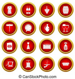 Wine icon red circle set