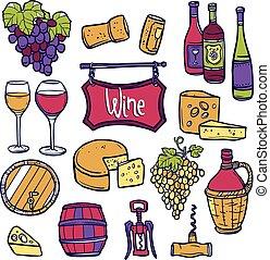 Wine Icon Set - Wine decorative icon set with hand drawn...