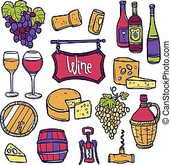 Wine Icon Set - Wine decorative icon set with hand drawn...