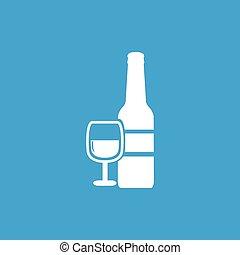 Wine icon, white
