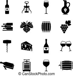 Wine icons set black - Wine alcohol drink black icons set...