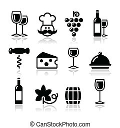 Black modern wine icons set with reflection