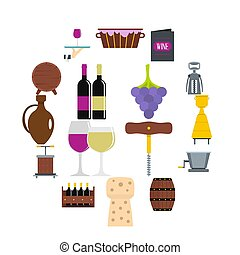 Wine icons set in flat style