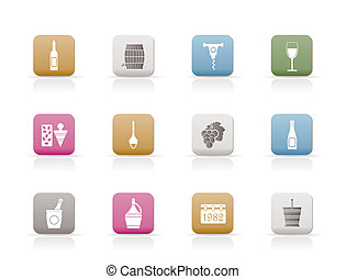 Wine Icons - Vector Icon Set