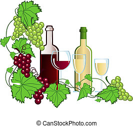 Illustration with wine and grapes