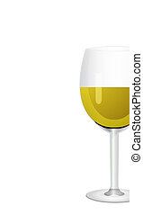 Wine in glass. Isolated on white background