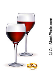wine in glass with ring