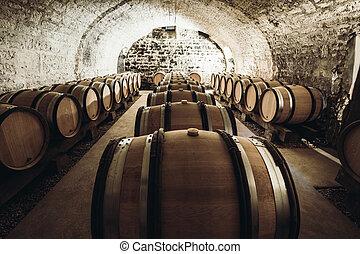 Wine in large barrels