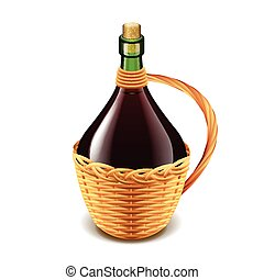 Wine in wicker bottle isolated on white vector