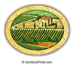 Beautiful vineyards landscape in an elliptical label. Digital illustration.