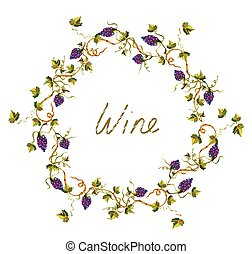 Wine label or background with vines and grape -  illlustration
