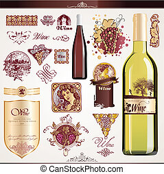 Wine labels set - Set of wine labels, bottles and elements