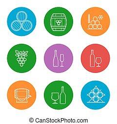 Wine line icons set