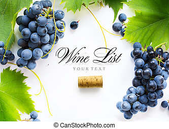 wine list background; sweet black grapes and bottle cork