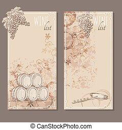 Wine list cards. Menu cards sketch.