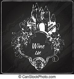 Wine list chalkboard label