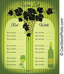 Wine list green