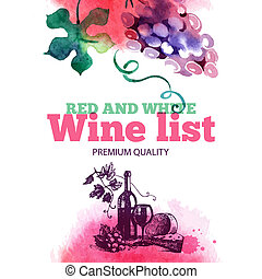 Wine list. Hand drawn sketch and watercolor illustration....