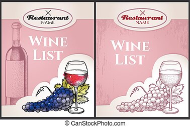 Wine list - Hand drawn wine list with grape and wine