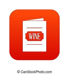 Wine list icon digital red