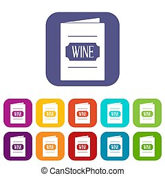 Wine list icons set flat